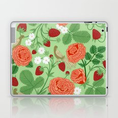 Roses and strawberries on green Laptop & iPad Skin