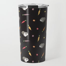 Carrot and Silkie Guinea Pig Pattern in Black Background Travel Mug