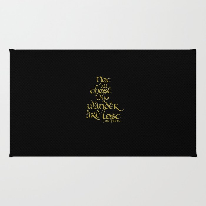 Tolkien Quote - Gold On Black Rug