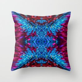 Blue and Magenta Light Refraction Patterns Throw Pillow