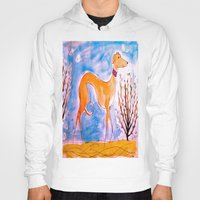 greyhound Hoodies featuring Greyhound by Caballos of Colour