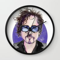 tim burton Wall Clocks featuring TIM BURTON by ●•VINCE•●