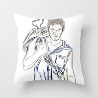 daryl dixon Throw Pillows featuring Daryl Dixon by Salina Ayala