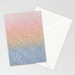 Girly Blush Rose Gold Blue Ombre Glitter Sparkles Stationery Cards