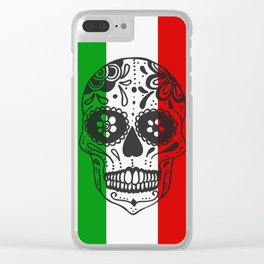 Mexican Skull With Italian Flag Clear iPhone Case