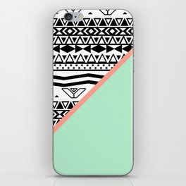Block | Black White Aztec Pattern Mint Green Color Block iPhone Skin