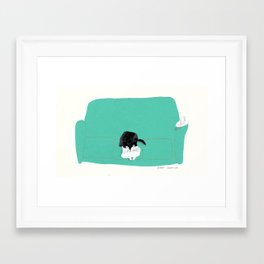 couch cat Framed Art Print