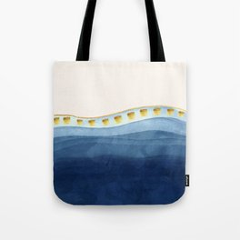 Blue waves and gold strokes Tote Bag