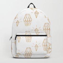 White gold faux glitter elegant diamond geometrical Backpack