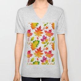 Fall Leaves Watercolor - White Unisex V-Neck
