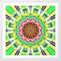 lime green Art Prints featuring Lime Green Citrus Abstract by Phil Perkins