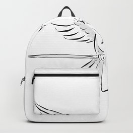 Soaring Dove Clutching Staff Front Drawing Backpack