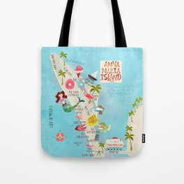 Anna Maria Island Map Tote Bag