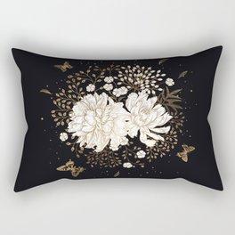 Hand drawn vintage bouquet flower on dark background illustration Rectangular Pillow