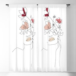 Minimal Line Art Woman With Flowers I Blackout Curtain