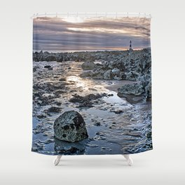 Sundown At The Lighthouse Shower Curtain