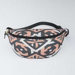 Nuts and Bolts // Spanish floor tile pattern in coral black and white Fanny Pack