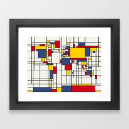 World Map Abstract Mondrian Style Framed Art Print