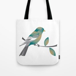 Teal and Gold Bird on a Tree Limb Tote Bag