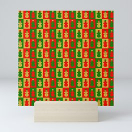 Red, golden and green snowmen Mini Art Print