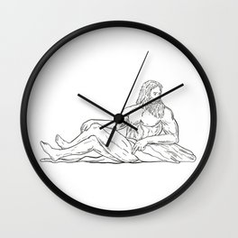 Heracles Reclining Side Drawing Black and White Wall Clock