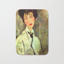 "Amedeo Modigliani ""Woman in Black Tie"" Bath Mat"