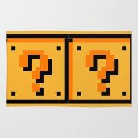 mario bros Area & Throw Rugs featuring Question mark Mario Bros. blocks  by Rebekhaart