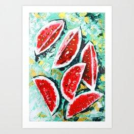 watermelon acrylic art Art Print