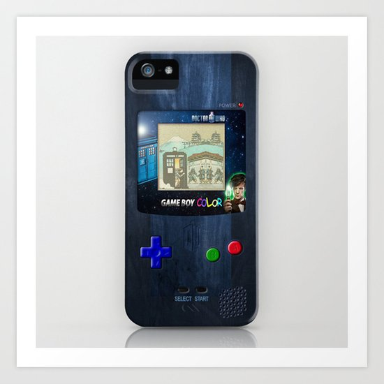 Retro Tardis Doctor Who Nintendo Gameboy iPhone 4 4s 5 5c, ipod, ipad, tshirt, mugs and pillow case Art Print