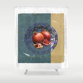 The Fine Art of Pomegranate in the Antique Plate! Shower Curtain