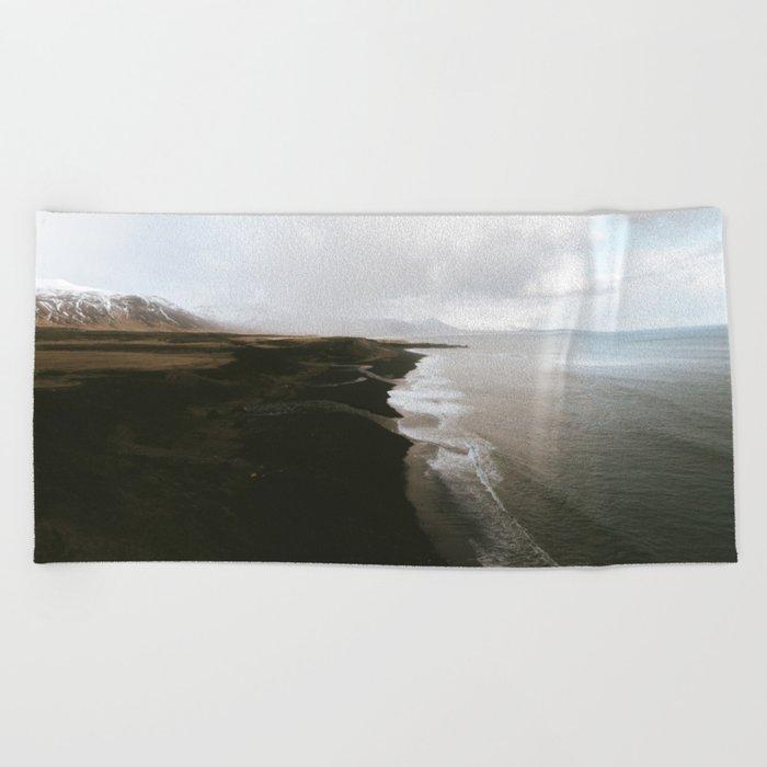Moody black sand beach in Iceland - Landscape Photography Beach Towel