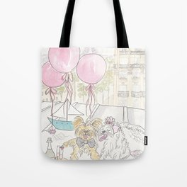 Puppy Dogs Paris Rooftop Picnic Romance Tote Bag