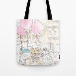 Puppy Dogs Paris Rooftop Picnic Romance Tote Bag
