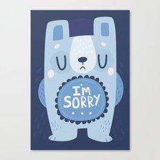 I'm Sorry Blue Bear  Canvas Print