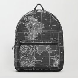 Black and White Vintage World Map Backpack