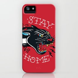 Stay Home Panther Tattoo iPhone Case