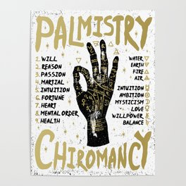 Palmistry, chiromancy. Black hand on a white textured background. Poster
