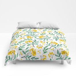 Hand painted yellow green watercolor berries floral pattern Comforters