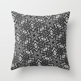 Blurry Moorish Nights: Black and White Throw Pillow