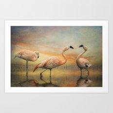 Flamingo Lake. Art Print
