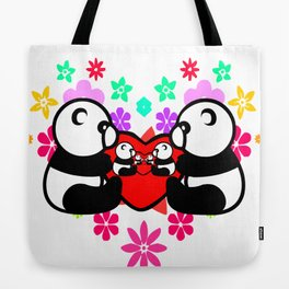 cute couple panda since childhood Tote Bag