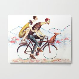Pair of cyclists Metal Print