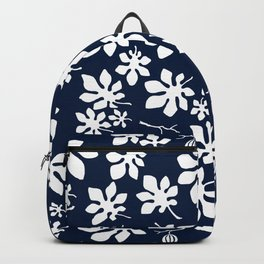 Fig Tree Pattern - White Backpack