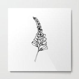 Foxglove Ink Drawing Metal Print