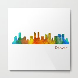 Denver Colorado City Watercolor Skyline Hq v1 Metal Print