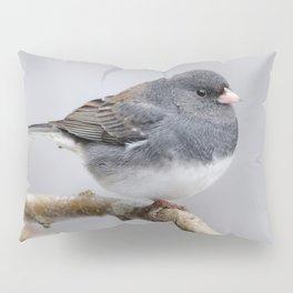 Fluffy Cassiar Dark-Eyed Junco on the Pear Tree Pillow Sham