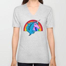 Colorful Cartoon Unicorn Rainbow - Blue Unisex V-Neck