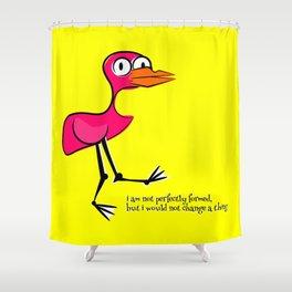 Pink Bird Not Perfect Shower Curtain
