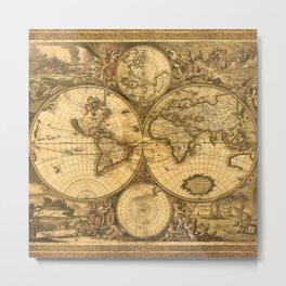 Antique World Map Metal Print