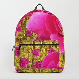 """FUCHSIA PINK """"ROSES & THORNS""""  GOLD ART  ROSE  PATTERNS Backpack"""